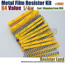 1280pcs 64 Value 20pcs Each 1% 1/4W Metal Film Resistor Assortment Kit