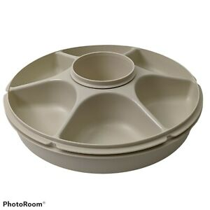 Tupperware Large Covered Serving Center Divided Tray Dip Cup 3 piece Almond