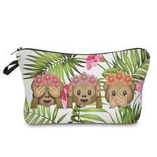 tropical monkey emoji cosmetic makeup bag pencil case