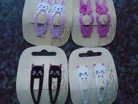 2 x pack 2 rabbit or cat hair bendies metal sleepies 5cm snap clips slides clip