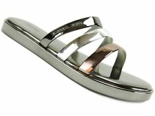 Michael Kors Keiko Slide Sandals Gunmetal Silver Size 8m Open Toe S17