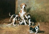 JOHN EMMS, HOUNDS with PUPPIES, PLAYTIME, ANTIQUE, VINTAGE, POSTER, ART PRINT