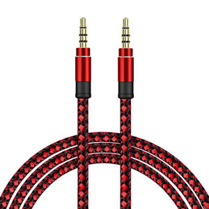 SDTEK Extra Long 3 Metres Red Braided Aux Audio Cable Jack Stereo 3m 3.5mm Lead