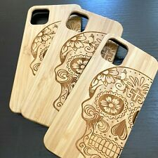For iPhone 11 / 11 Pro Max - Hard Case Cover Real Bamboo Wood Candy Skull Flower