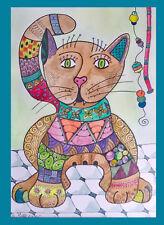 Original Bild, Zeichnung, Tusche, Katze, Bunt, abstrakt, Zentangle Art, Aquarell