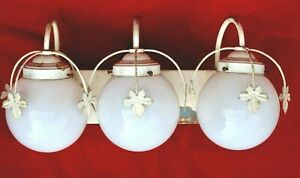 MCM VINTAGE glass GLOBE 3 light SCONCE vanity wall LIGHT FIXTURE LIGHTCRAFT Pa
