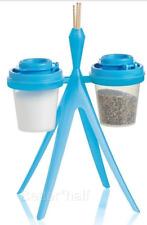 Tupperware Mini salt & pepper S&P set w/ Stand & Holder for Toothpicks Blue New