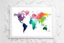 World Map Watercolour Print A4 Picture Unframed Wall Art