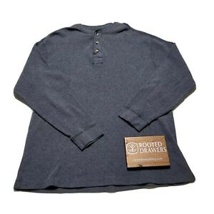Vintage Naturalife Mens Gray Thermal Cotton Long Sleeve Henley Shirt Size Large