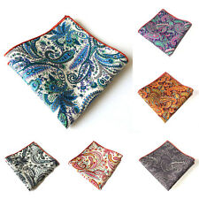 Men Fashion Cotton Paisley Flower Pocket Square Handkerchief Wedding Party Hanky