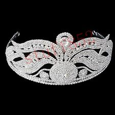 Pageant Queen Crown Tiara Styling Silver Half Head Acrylic Hair Headdress Girl P