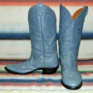 Mens Vintage Nocona Gray Leather Cowboy Boots 8.5 E Very Good Used Condition