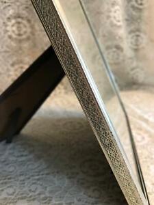 "Vintage silver tone metal embossed photo frame 8x10"" geometric pattern sides MCM"
