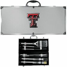 texas tech raiders 8 pc tailgater stainless steel bbq set with metal case