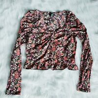S - Wild Fable multicolor floral sheer long sleeve crop top ruffle button small