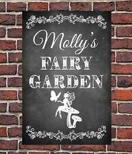 PERSONALISED CHALK STYLE FAIRY GARDEN METAL SIGN DAUGHTER SON FAMILY