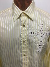 Platini Jeans Cougar Mens M Embellished Cross Yellow White Snap-Front Shirt