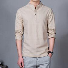 Men's Linen Button Neck Shirt T-Shirt Mandarin Collar Chinese Vintage Casual Top