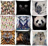 ANIMAL PRINT CAT DOG TIGER LION PANDA BIRD CUSHION COVER PILLOW CASE IDEAL GIFT
