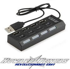 Hub 4 Puertos USB 2.0 Interruptor ON / OFF independiente por puerto Luz Pc Cable