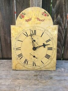 Antique American Wooden Works Tall Case Clock Movement w/ Dial