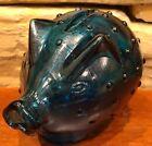 "Vintage Holmegaard Jacob Bang Scandinavian Blue Hobnail Glass Piggy Coin Bank 4"""