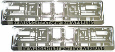 2 Stück Kennzeichenhalter CHROM mit WUNSCHTEXT Nummernschildhalter Satz silber