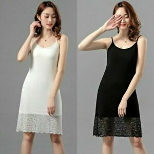 Women Modal Slips Dress Lace Strappy Petticoat Underskirt Chemise Midi Fashion