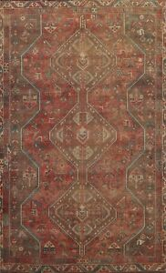 Antique Tribal Abadeh Geometric Hand-knotted Area Rug Wool Oriental Carpet 6'x9'