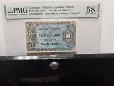 Germany / Allied Occupation  WWII 10 Mark 1944 P194A  SB184 PMG 58 CHOICE AU