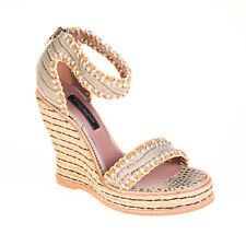 Hilfiger Collection Damen Wedges Keilabsatz Sandalen Leder Hellgrau Größe 38