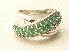 Estate Vintage Sterling Silver CNA Signed Emerald Crossover Ring