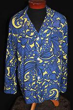 """Rare Arabian Nights Vintage 1940-1950'S Vivid """"Enro"""" Rayon Print Pj Shirt Lg+"""