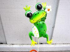 "Metal Green Frog W/ White Flower Garden Stake Decor 24"" New"