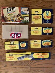Vintage Aurora Model Motoring Lot -Pit Kit w/Cars Tires Parts & Roadway/Bridges