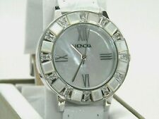 Honora Mother-of-Pearl & Baguette White Topaz Stainless Watch  White