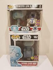 """Star Wars Snoke 6"""" + LEIA & R2-D2 SDCC EXCLUSIVE Pop Vinyl Figure NEW RARE SALE!"""