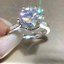 Real 14K Solid White Gold FN 2.20Ct Round Moissanite Anniversary Engagement Ring