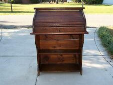 Antique Roll Top Desk with Bookshelf Base Rare Smaller Size