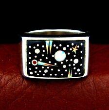 Calvin Begay Sterling Silver Night Sky Men's Ring Size 14 --- R84 E T