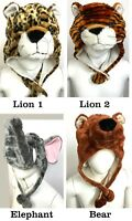 Warm Fluffy Plush Unisex Cartoon Animal Kid Adult Winter Hat Cap Gift
