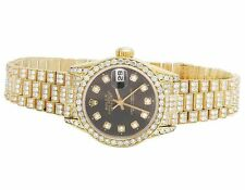 Rolex 18K Yellow Gold 26MM Datejust Black Presidential 69178 Diamond Watch 9 Ct