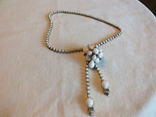 """Beautiful Necklace Gold Tone Filled with White Rhinesotnes 14"""" + 3"""" NICE"""