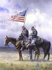Tribute Martin Grelle Western Military Horse American Flag Giclee Canvas 30x40