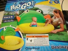 H2O Go! Bestway Fish & Me Kiddie Pool, Removable Sunshade,7 Gallon Play Pool