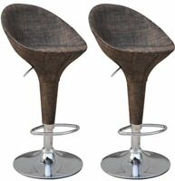 Adjustable Rattan Style Sling Fabric Swivel Bucket Seat Patio Bar Set of Two