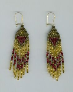 Copper, red and gold seed beaded earrings. One pair!