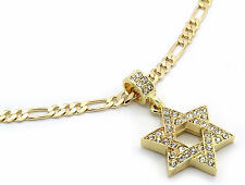 "Men Gold Plated Star Of David Cz Pendant Hip-Hop 24"" Figaro Necklace Chain M2"