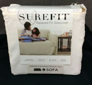 Surefit Relaxed Fit Slipcover- Farmhouse Basketweave- Ivory- Fits Sofa~ NEW!