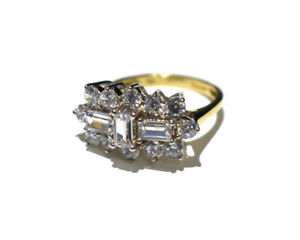 1 Carat Boat Cluster Ring Yellow Gold Cluster Engagement Ring Ladies Dress Ring